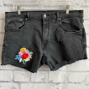 Levi's black 559 upcycled cutoffs w/ floral patch